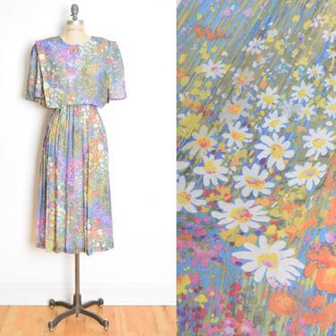 vintage 80s secretary dress floral meadow watercolor print plus size midi XL clothing by huncamuncavintage
