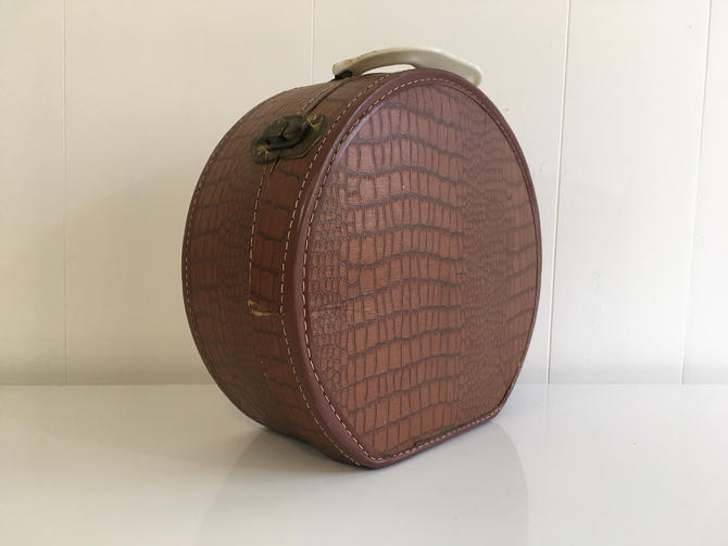 Vintage Faux Animal Skin Suitcase Traveler Bakelite Handle Plastic Box Round Circle Vegan Leather White Brown Luggage Travel Case by CheckEngineVintage