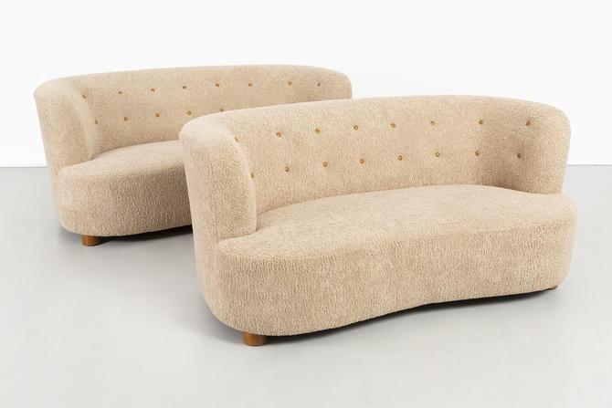 Pair of Mid-Century Modern Danish Cabinetmaker Settees Freshly Reupholstered by MatthewRachman