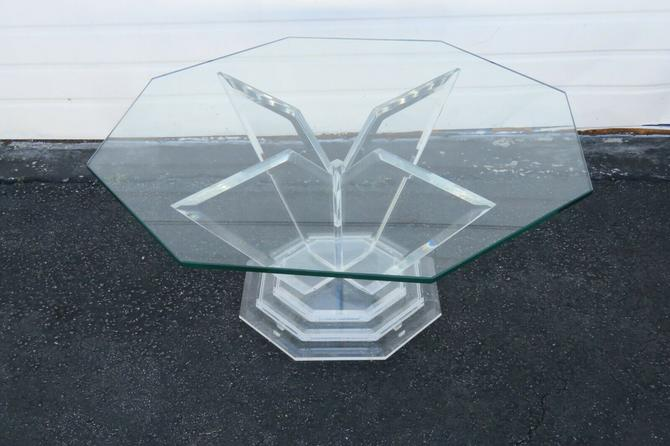 Mid Century Modern Lucite Acrylic Octagon Glass Top Coffee Table 1900