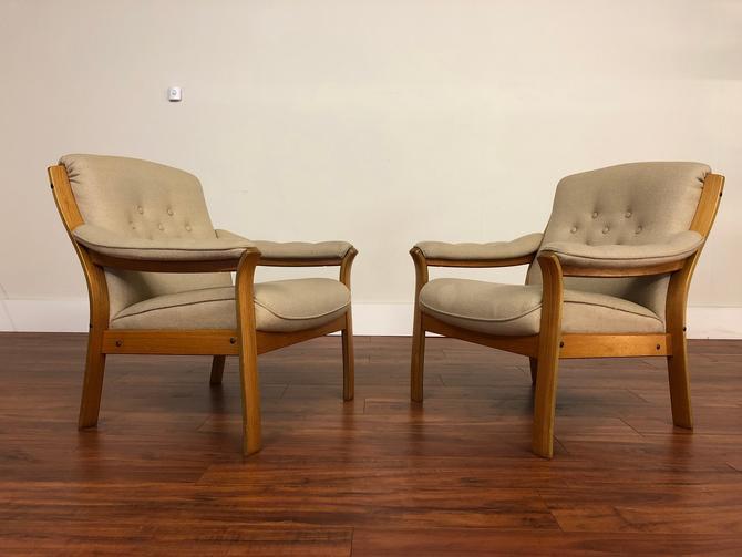 Teak Frame Wool Upholstered Chairs Pair by Vintagefurnitureetc