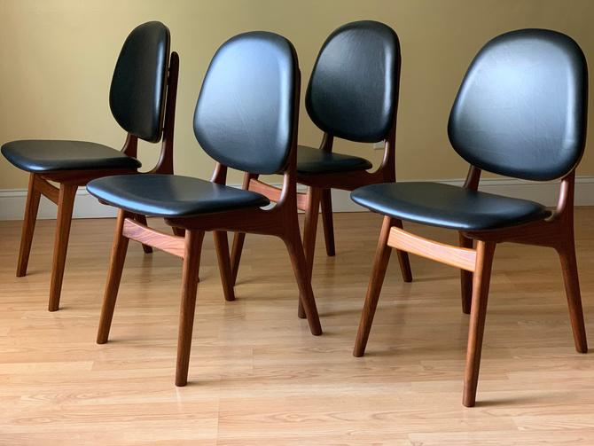Set of Four Arne Hovmand Olsen Afrormosia Teak and Leather Dining Chair by ASISisNOTgoodENOUGH