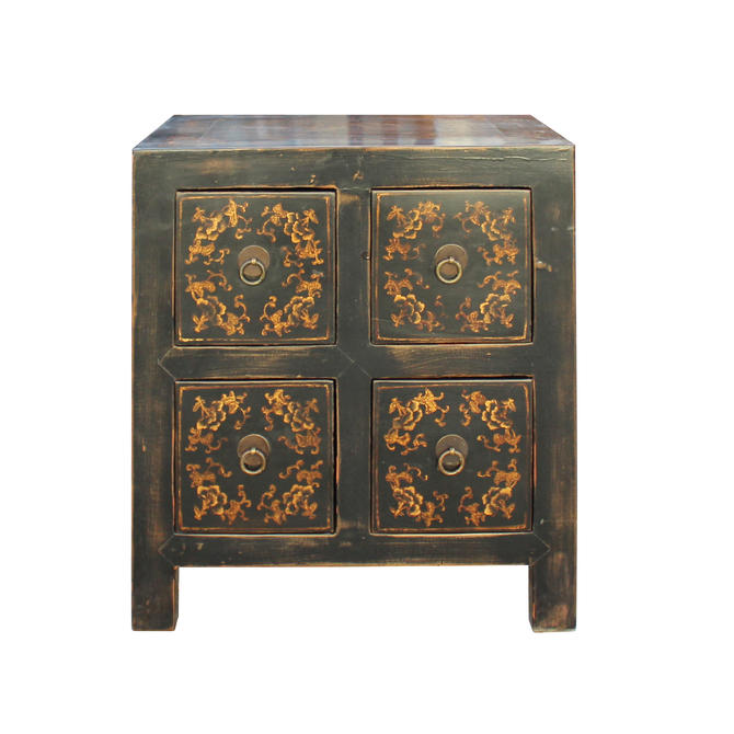 Oriental Distressed Black Golden Flower 4 Drawers End Table Nightstand cs4555E by GoldenLotusAntiques