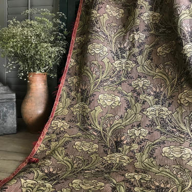 Antique French Art Nouveau Tapestry Fabric Remnant, Floral Foliage, Sewing Projects, Chateau Decor by JansVintageStuff