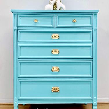 Stunning Chest of Drawers, Dresser, Blue, Aqua, Antique, Vintage, Hand Painted, by LaVidaBellaDesign
