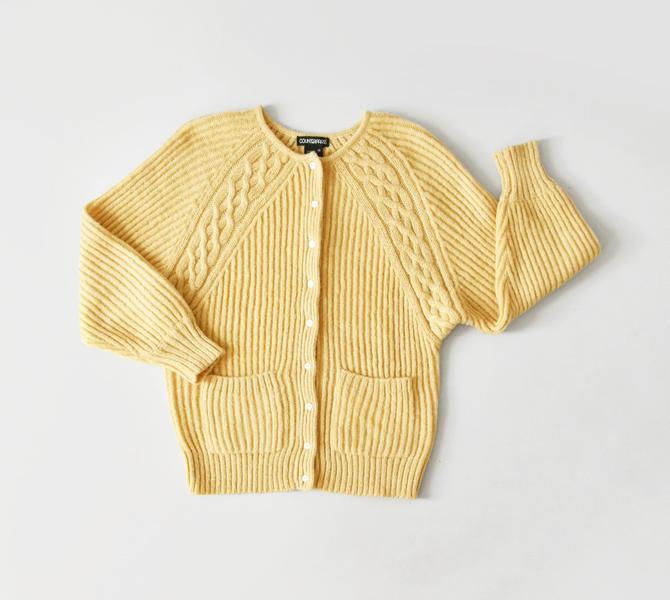 vintage yellow knit cardigan, raglan sleeve sweater, size M by ImprovGoods