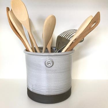 handmade utensil holder, white utensil holder, utensil holder, kitchen crock, wine cooler, rustic pottery, rustic utensil jar by altheaspottery