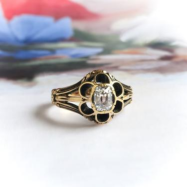 Antique Victorian .35ct. Peruzzi Diamond Buttercup Engagement Ring 18k by YourJewelryFinder