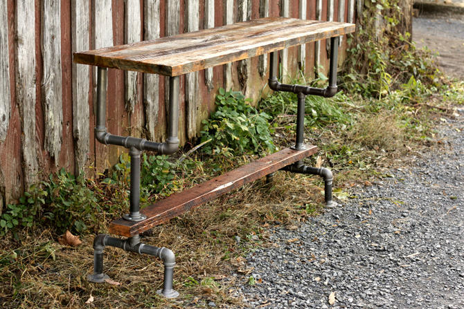 Free Shipping! Weathered Gray Wood and Industrial Pipe Bar Height Table by StrongOaksWoodshop