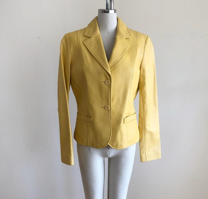 Bright Yellow Leather Blazer - Late 1990s/Early 2000s by LogansClothing