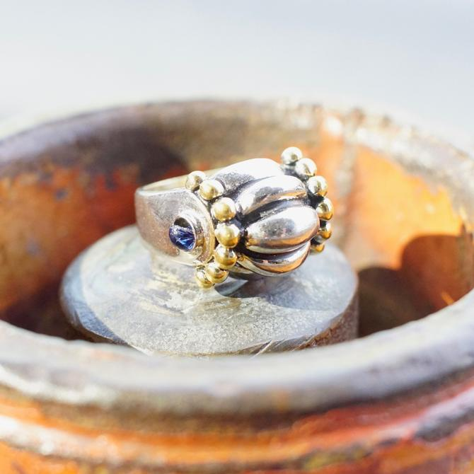 Vintage Joseph Esposito Sterling Silver & 14KT Gold Electroplated Dome Ring, Unique Two Tone Ring With Accent Blue Glass, Size 8 1/4 US by shopGoodsVintage