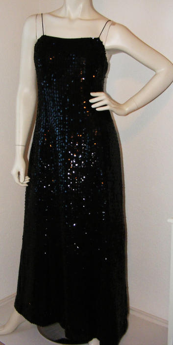 Vintage 1980s Long Black Sequined dress- Miss Elliette of Calif. sz 12 w/ matching jacket by AllMyItems
