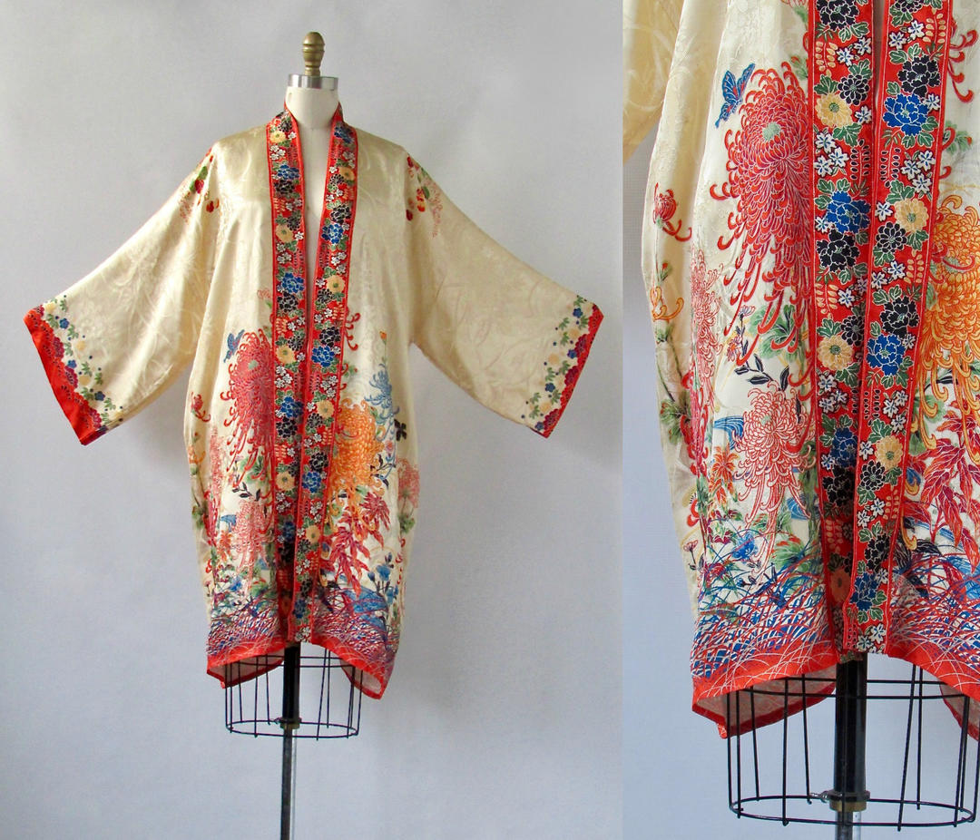 La Vie Boheme Vintage 30s Kimono Robe 1930s Rayon Floral