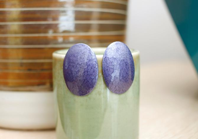 Vintage 1980s Oval Earrings - Purple Speckled Metallic Large Drop Earrings by SecondShiftVintage