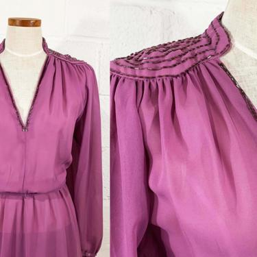 Vintage Purple Dress Argent Fille 70s 1970s Maxi Full Length Formal Beaded Long Sleeve Blousy Peasant Sleeves Party Cocktail Large Medium by CheckEngineVintage