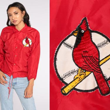 St LOUIS CARDINALS Jacket Baseball Jacket 80s Mlb Coach Jacket Varsity Streetwear Red Sports Snap Up Vintage Letterman Extra Small xs by ShopExile