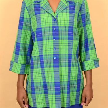 Vintage Green Blue Plaid Button Down Collared Long Shirt Blouse by MAWSUPPLY