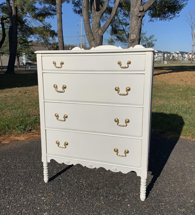 Vintage White Four Drawer Chest of Drawers by ForeverPinkVintage