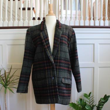 Vintage Woolrich Long Plaid Wool & Mohair Boyfriend Blazer Coat Women's Size Small / 6 by NeonSkyVintageMN