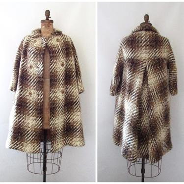 COUNTRY TWEEDS Vintage 60s Plaid Coat | 1960s Brown Chunky Tweed Wool Tent Overcoat | 50s 1950s Mid Century Outerwear | Size Small Medium by lovestreetsf