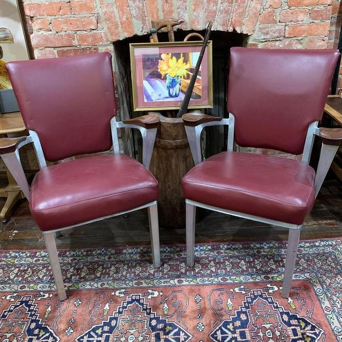Shaw Walker aluminum & vinyl side chairs with wooden arm rests