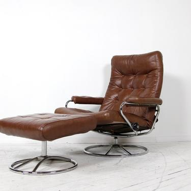 Vintage mcm Ekrones brown leather swivel reclining lounge chair w ottoman Made in Norway   Free delivery in NYC and Hudson by OmasaProjects