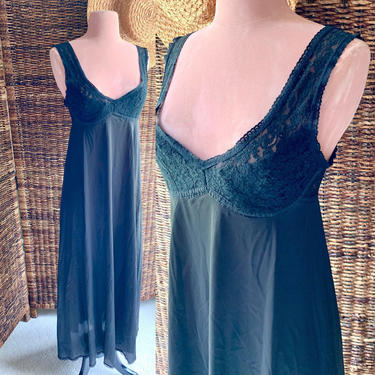 Black Nylon, Fully Sheer Lace Cut Out Gown, Nightie, Grecian, Plunging Neckline, Vintage Lingerie Negligee by GabAboutVintage