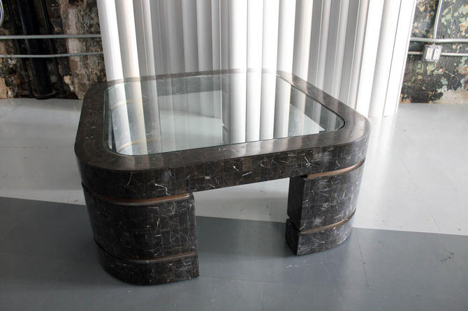 Tensilted Stone and Brass / Glass Coffee Table by Maitland Smith