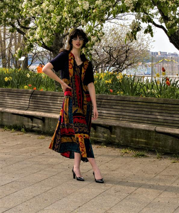 90s Vintage abstract art deco dress, long flowy 90s grunge dress by ShopRVF