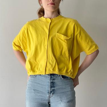 Vintage 80's Canary Yellow Batwing Shirt Sleeve Sweatshirt Cardigan, Size Small by Northforkvintageshop