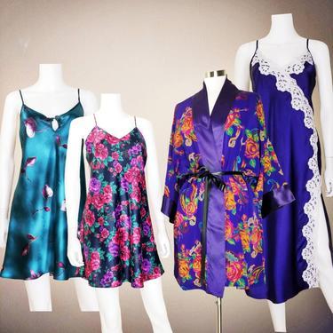 Satin Nightgown Robe Chemise Set, Medium / Exotic Vintage Lingerie Party Bundle / Sexy Nightie Lot of Floral Print Sleepwear Loungewear by SoughtClothier