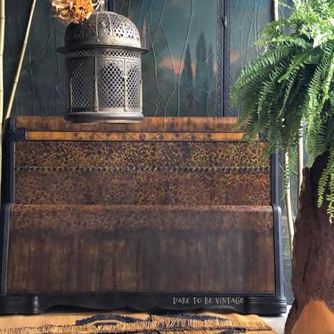 Vintage Hand Painted Leopard Foral Bed - Vintage Art Deco Bed - Bohemian Furniture - Vintage Dresser Bedroom Furniture by DareToBeVintage