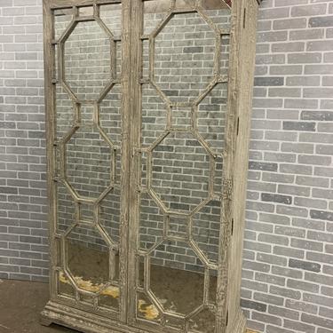 Hollywood Regency Carmen Distressed Gray Birch Antique Mirror Armoire