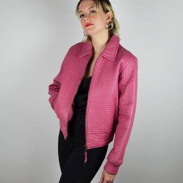 Vintage 80s 90s Quilted Bomber Jacket / Vintage Pink Leather Jacket / 1990s Coat Vintage Quilted Leather Bomber Jacket Women / Small Medium by ErraticStaticVintage
