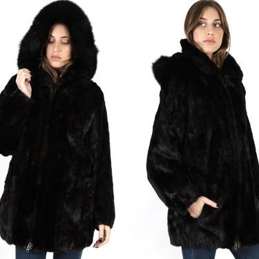 Black Mink Bomber Jacket / Hooded Real Fur Jacket / Vintage 80s Black Plush Arctic Fox / Deep Removable Hood Zipper Jacket by americanarchive