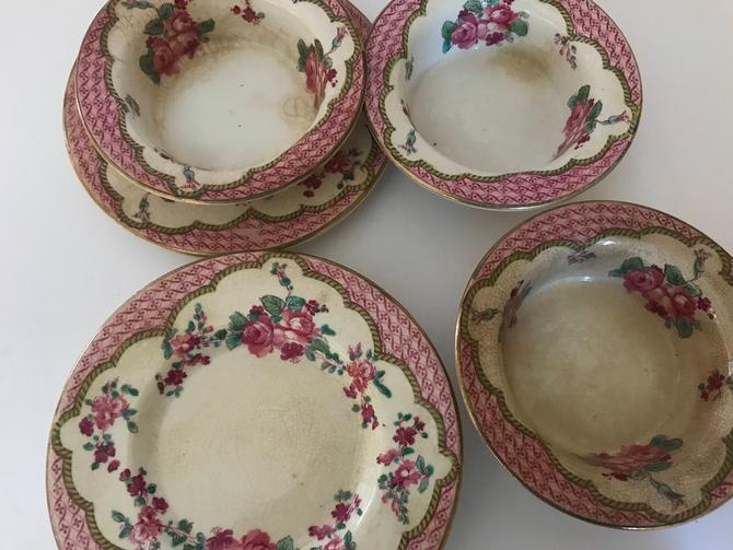 Antique (7)pc Booths Silicon China England Rose Pattern Early 1900s Porcelain small Bowl and Saucer by JoAnntiques