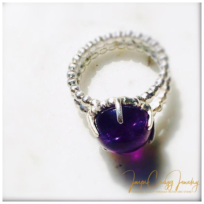 Beaded Argentium 935 Silver Amethyst Cabochon Ring by JasprCraggJewelry