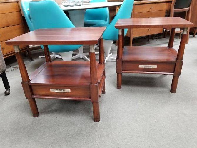 Pair of Mid-Century Modern nightstands with lower drawer