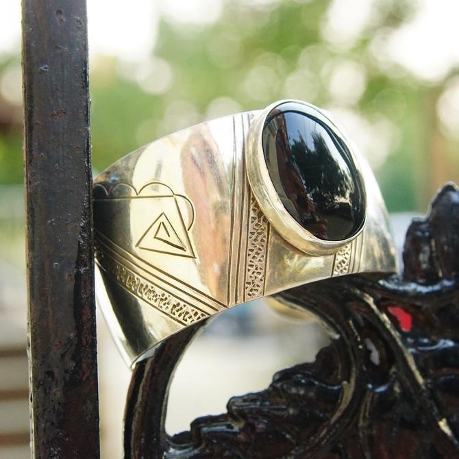 "Vintage Sterling Silver & Onyx Cuff Bracelet, Intricate Hammered Designs, Glossy Black Gemstone, Adjustable Silver Cuff, 6"" L by shopGoodsVintage"