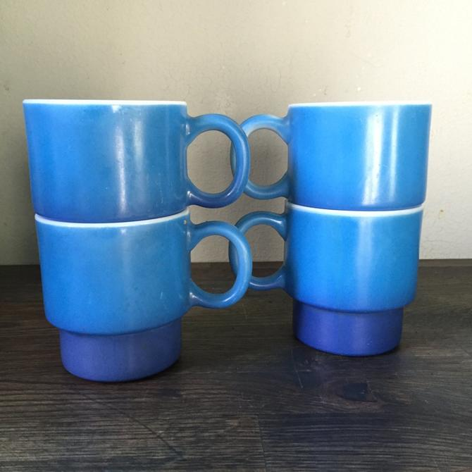4 Anchor Hocking Blue City Diner Coffee Mugs milkglas by BrainWashington