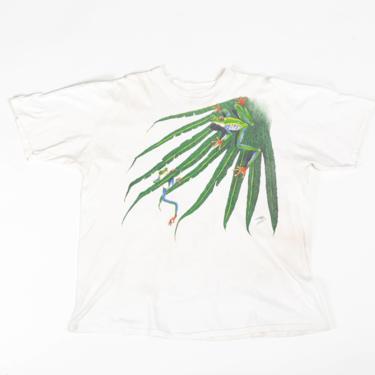 90s Tree Frog T Shirt - Extra Large   Vintage Unisex White Graphic Animal Tee by FlyingAppleVintage