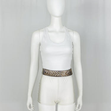 Vintage 1980s Pewter Metallic Stretch Belt by timelesspieces