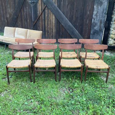8 Carl Hansen Hans Wegner Chairs Caning Project Vintage Mid-Century Architect Modern Danish Oak by BrainWashington
