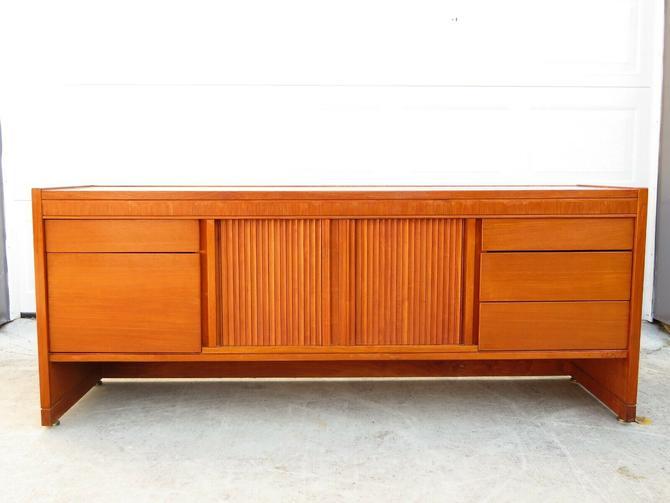 Vtg TEAK TAMBOUR DOOR OFFICE CREDENZA Sideboard Desk MID CENTURY Danish Modern