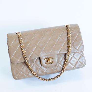 """Vintage CHANEL Lambskin Quilted Medium Double Flap in Beige + Gold Caviar 10"""" CC 90s Minimal Nude Taupe Turnlock Shoulder Crossbody by backroomclothing"""
