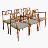 Set of 6 ( 2 Arm + 4 Side) Danish Teak (#64 & #79) Niels Moller Dining Chairs