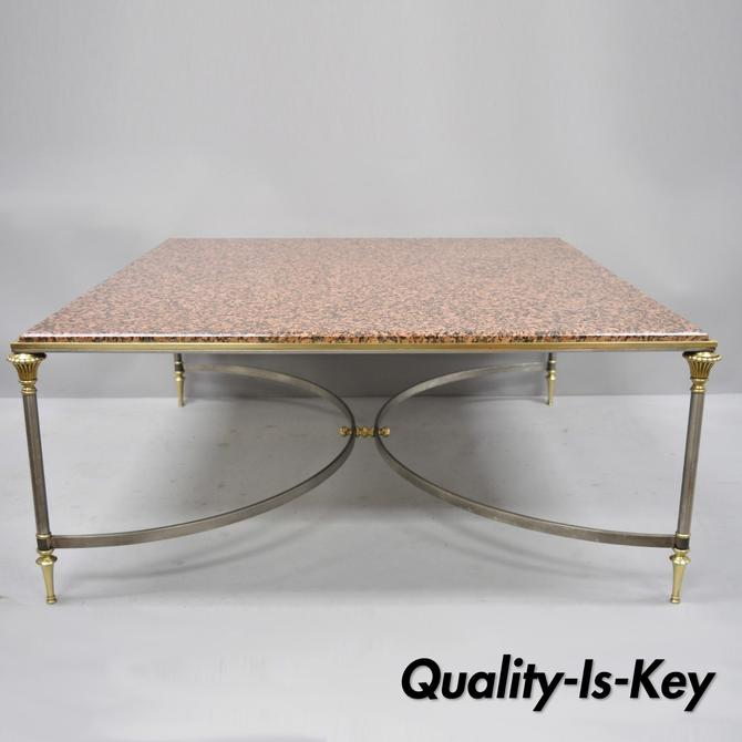 Large Square Pink Marble Top Steel & Brass Coffee Table Attr. Maison Jansen