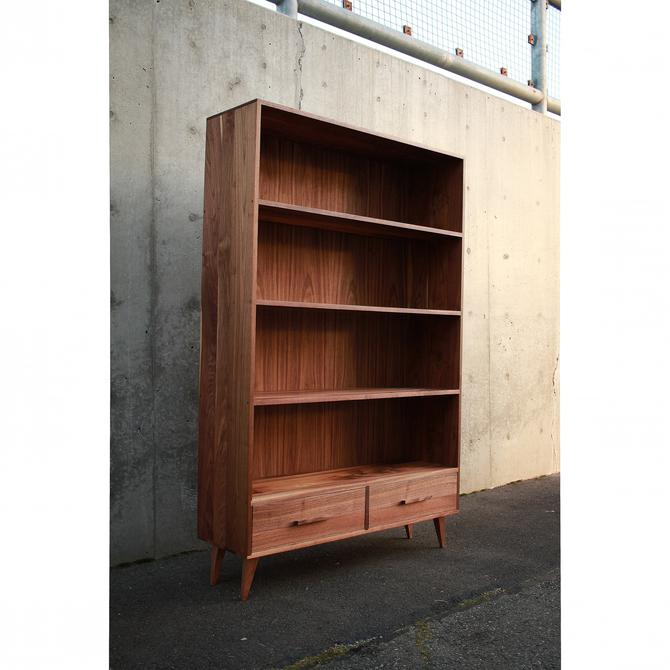 "Fullstack Bookcase - Double Wide, 48""W, Modern Bookshelf, Mid-Century LP Shelf, Vinyl Bookcase (Shown in Walnut) by TomfooleryWood"