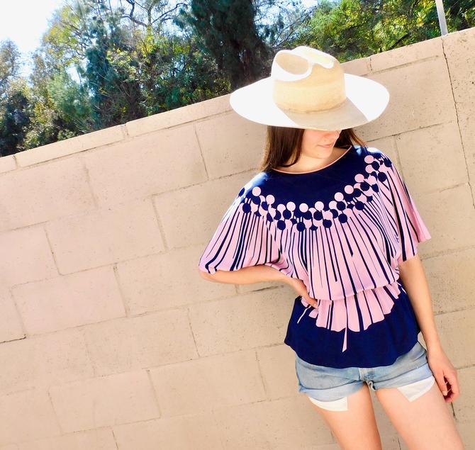 French Virginie Geometric Blouse // vintage 70s dress top shirt boho hippie 80s geometric // S/M by FenixVintage