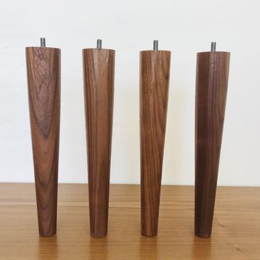 "MID CENTURY MODERN 12"" Solid Walnut Set of 4 Handmade Furniture Legs/Feet (Los Angeles) by HouseCandyLA"